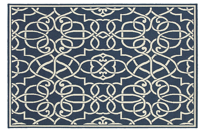 Palmdale Outdoor Rug - Navy/Ivory