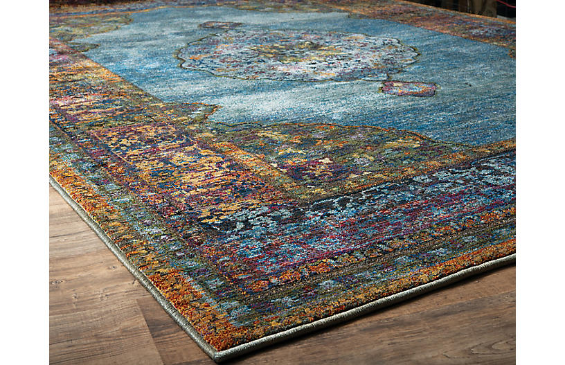 Cascais Rug Blue Multi Traditional Rugs By Style