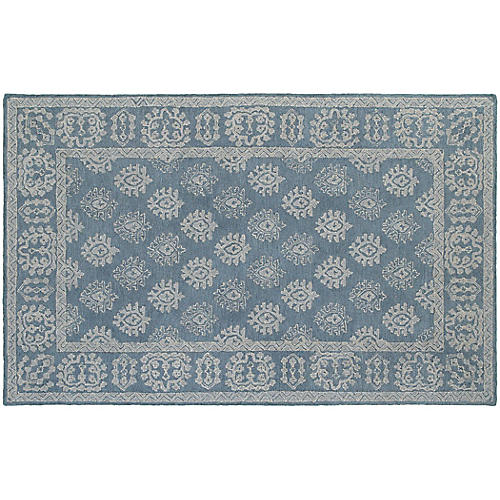 York Rug, Blue/Gray