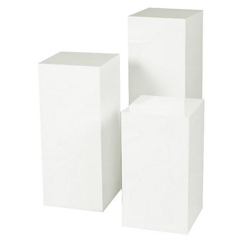 White Miami Pedestal, Set of 3
