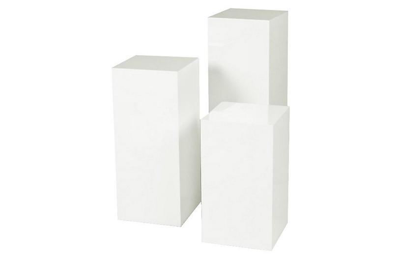 White Miami Pedestal, Set of 3