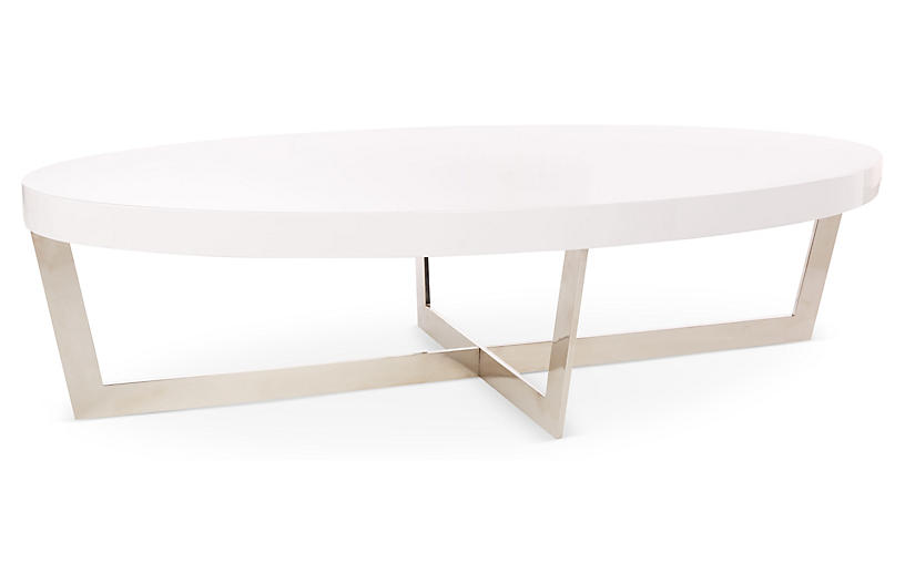 Oyster Oval Coffee Table, White/Steel