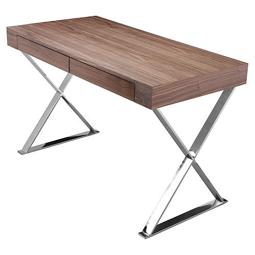 Alba X-Leg Desk, Walnut