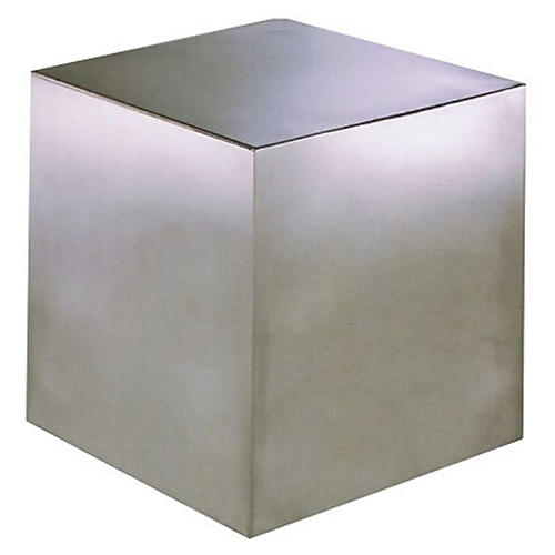 Cubix Side Table, Brushed Metal