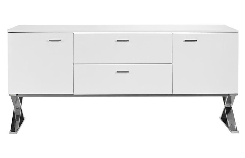 X-Leg Sideboard Table, White