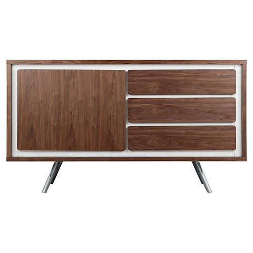 Hal Modern Lacquer Sideboard, White/Walnut