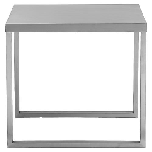 Clark Side Square Table, Silver