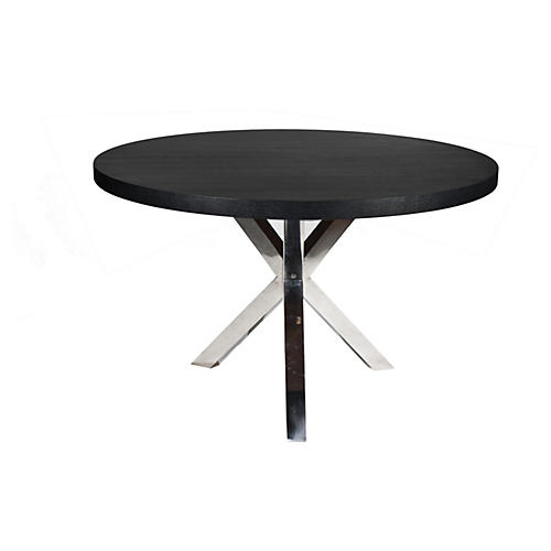 "Charlotte 47"" Round Dining Table, Black"