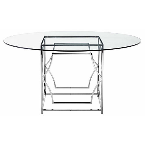 """Edward 60"""" Round Dining Table, Glass/Silver"""