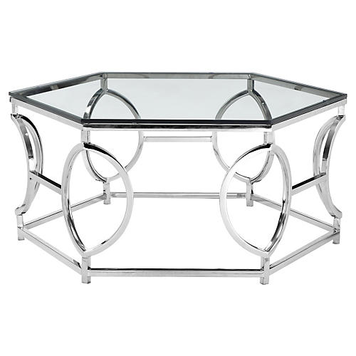 Arthur Coffee Table, High Polish Steel