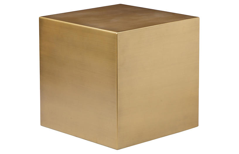 Spencer Small Side Table, Brushed Brass