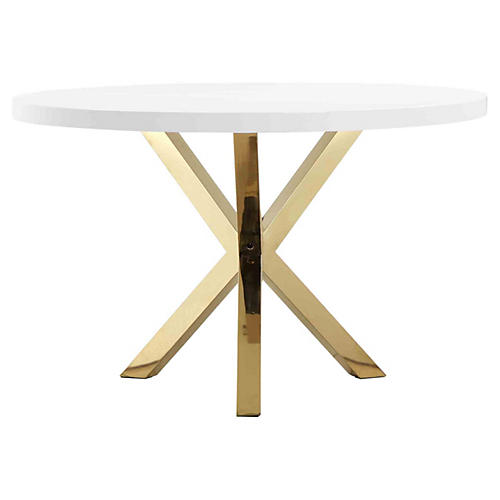"Remi 47"" Round Dining Table, White/Gold"