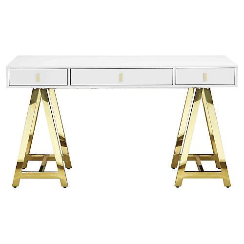 Gold Riley Desk, White