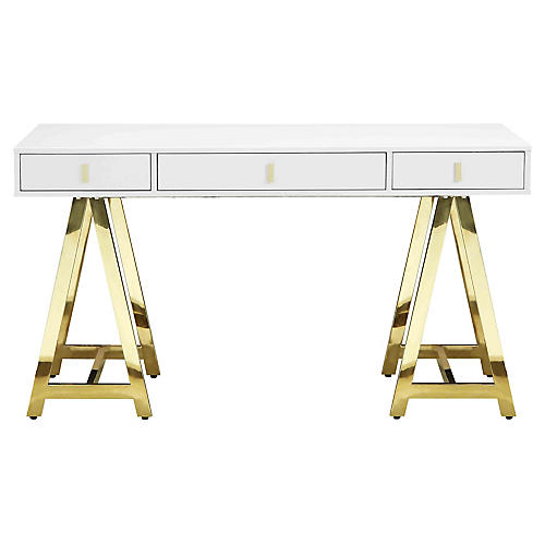 Gold Riley Desk, White