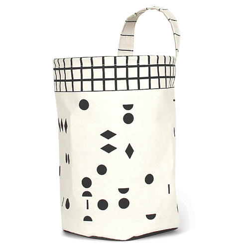 Olé Round Kids' Storage Basket, White/Black