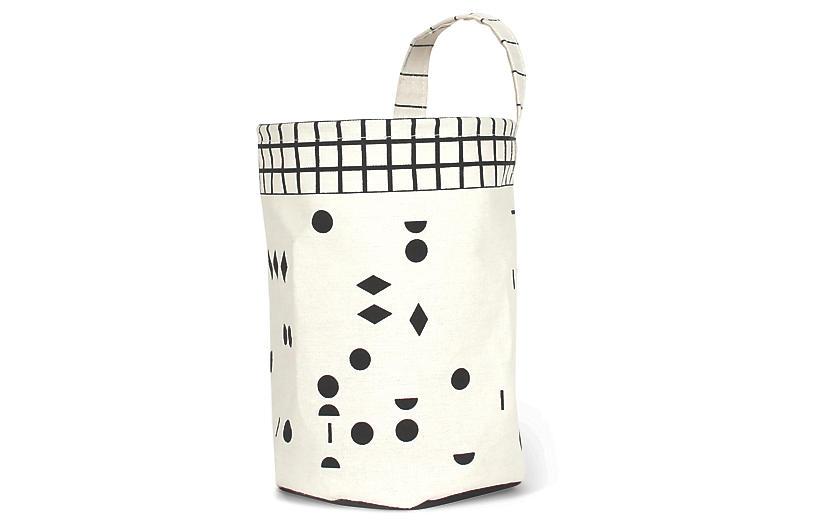 Olé Round Kids' Storage Basket, White/Black