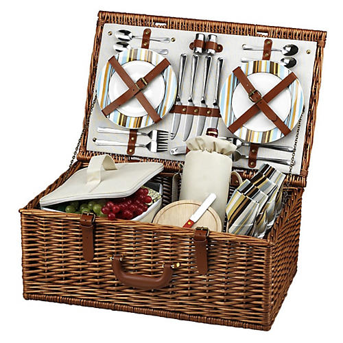 Dorset Picnic Basket for 4, Stripes