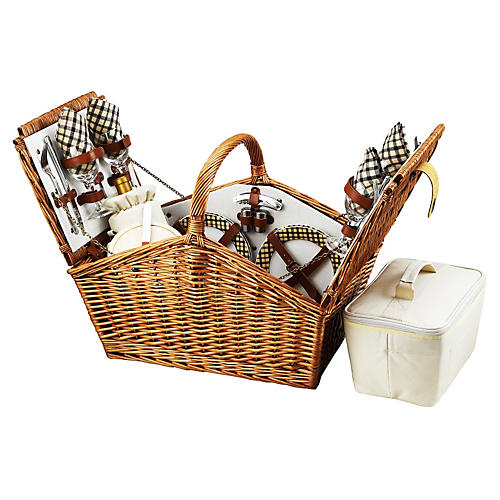 Huntsman Basket for 4, London Plaid