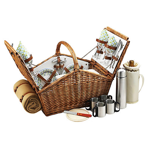 Huntsman Basket w/ Coffee for 4, Natural