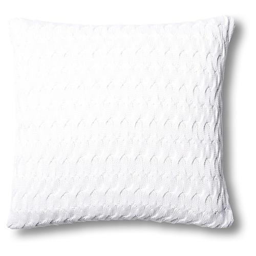 Majorca 22x22 Cotton Pillow, White