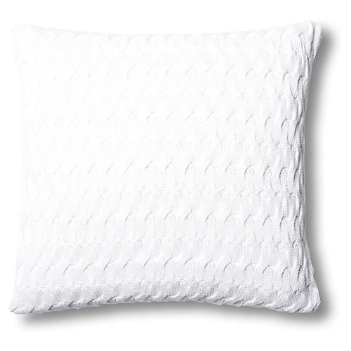 Majorca 22x22 Cotton Pillow, White