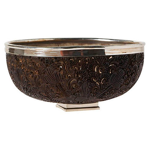 """6"""" Coconut Shell & Sterling-Silver Bowl"""