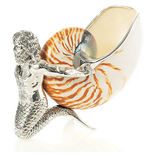 "5"" Sterling Silver Merman w/ Nautilus"