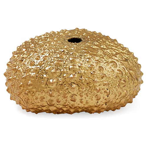 Large 18-Kt Gold-Plated Green Sea Urchin