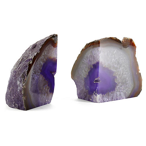 Pair of Agate Bookends, Purple