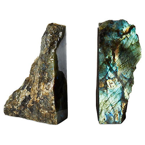 S/2 Large Labradorite Bookends