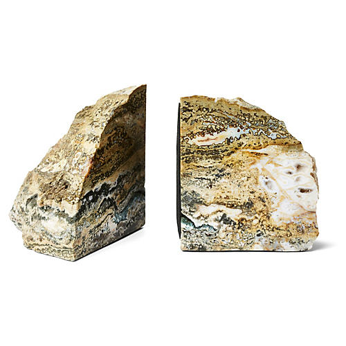 Polished Sea Jasper Bookends, Pair
