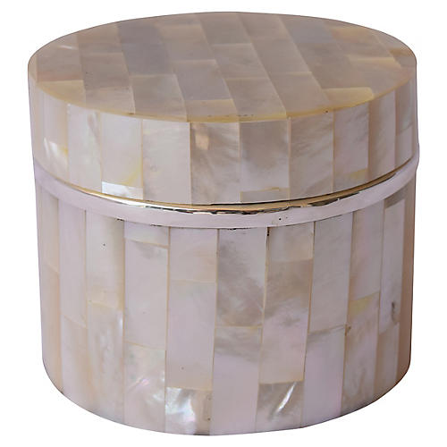 "4"" Mother-of-Pearl Box w Sterling Silver"