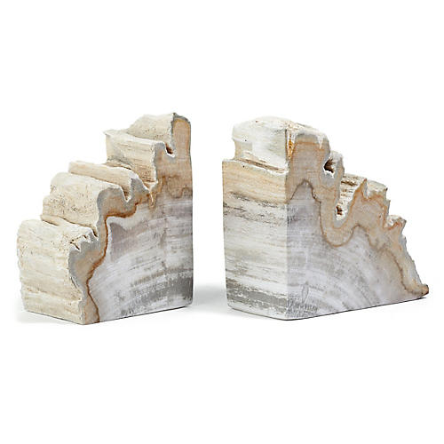 S/2 Petrified-Wood Bookends, Light Wood