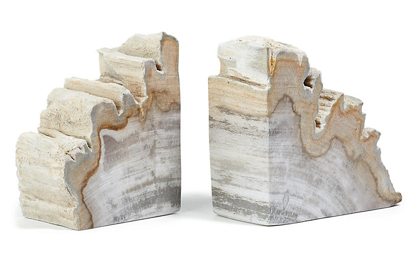 Set of 2 Petrified-Wood Bookends - Light Wood