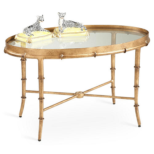 Sofie Bamboo Coffee Table, Antiqued Gold