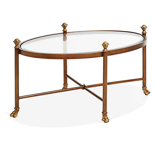 Edyth Oval Coffee Table, Antiqued Gold