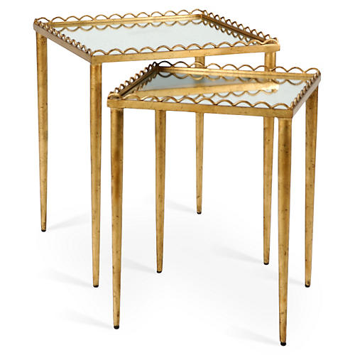 Beverly Mirrored Nesting Tables, Gold