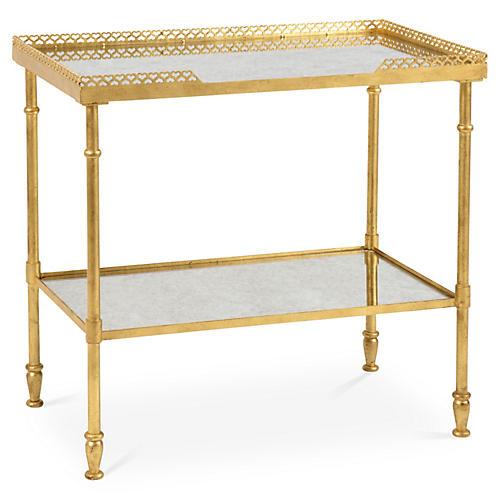 Finn Mirrored Side Table, Gold