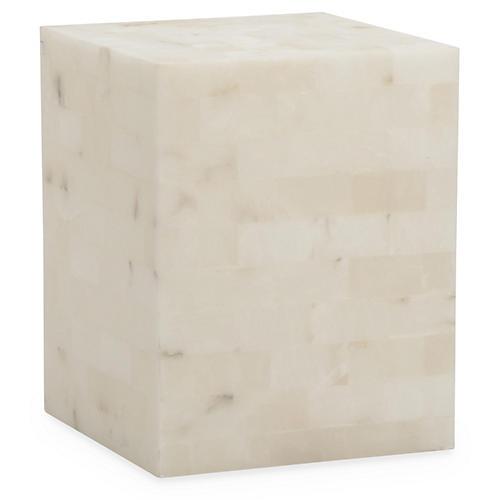 Otis Alabaster Side Table, Ivory
