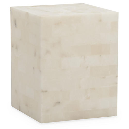Otis Alabaster Side Table, Ivory