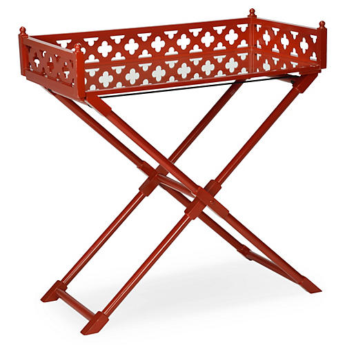 Ashley Mirrored Side Table, Red