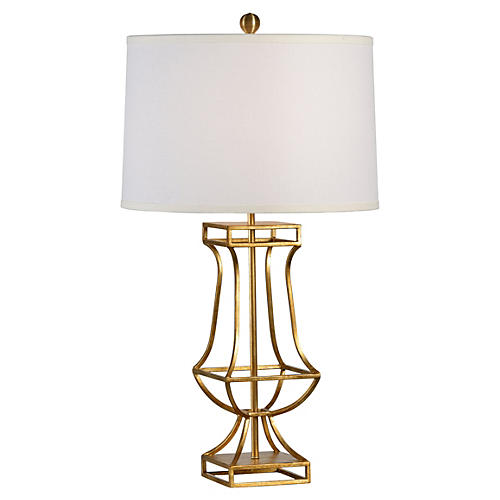 Garrison Lamp, Antiqued Gold Leaf
