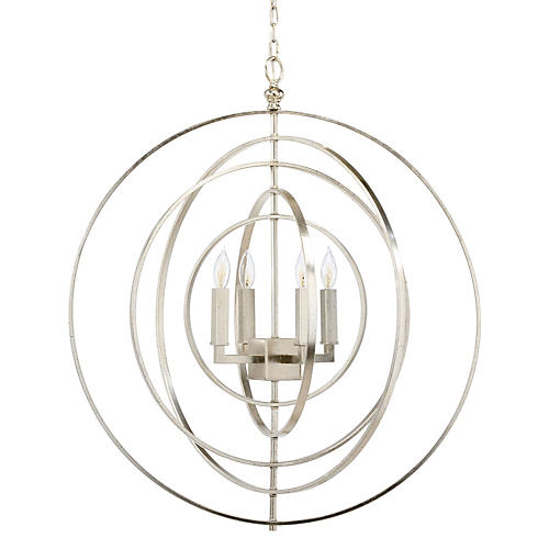 Globe 4-Light Chandelier, Nickel