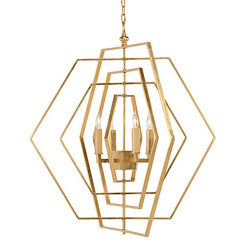Hexagon Chandelier, Antiqued Gold Leaf