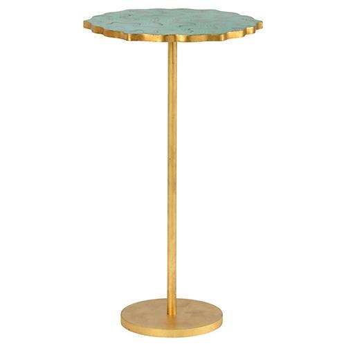 Malachite Side Table, Gold Leaf