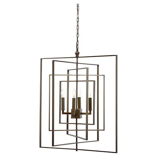 Cube Chandelier, Bronze