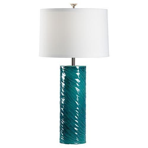 Bevin Porcelain Table Lamp, Teal