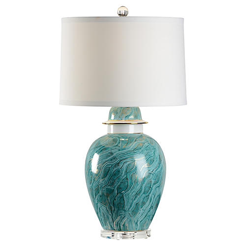 Ebru-Style Table Lamp, Green