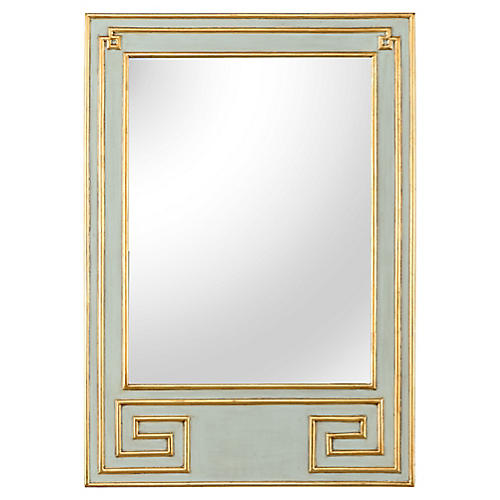 Greek Hall Wall Mirror, Antiqued Green