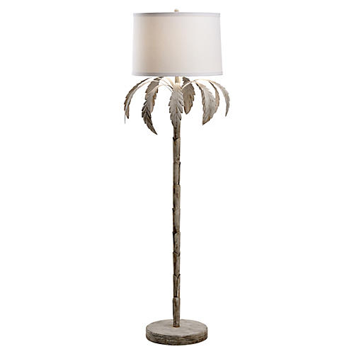 Palm Floor Lamp, Whitewash